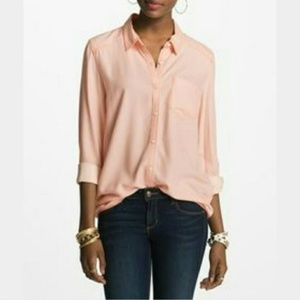 Rubbish Pink Button Front Chambray Top LG